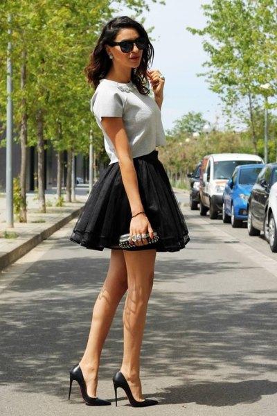 black tulle ruffle mini skirt outfit