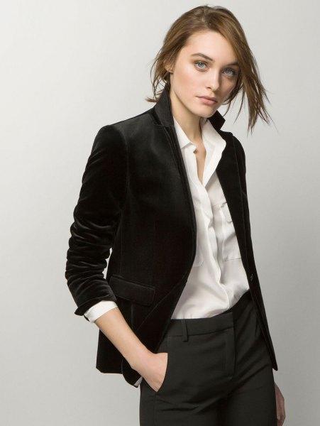black velvet blazer white shirt grey chinos