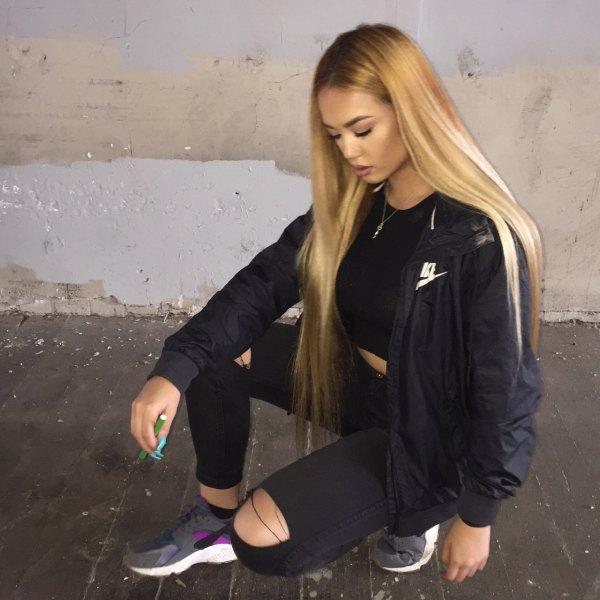 black windbreaker jacket crop top