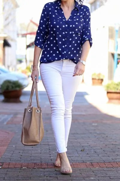 blue and white polka dot shirt white skinny jeans