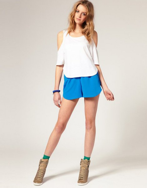 blue chiffon shorts white cold shoulder top
