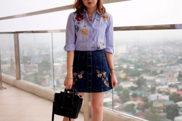 blue embroidered button up shirt