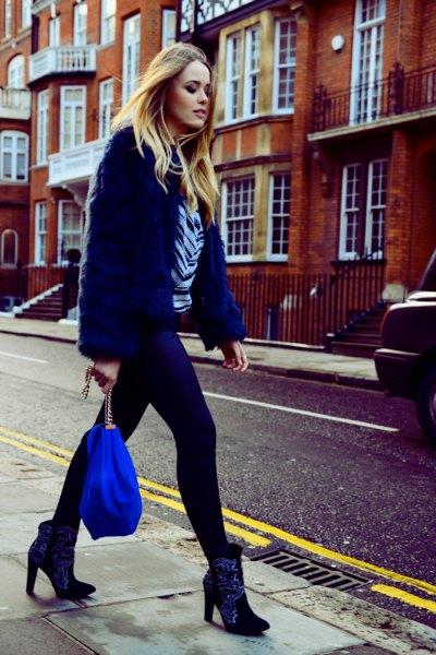 blue faux fur coat velvet anklet boots