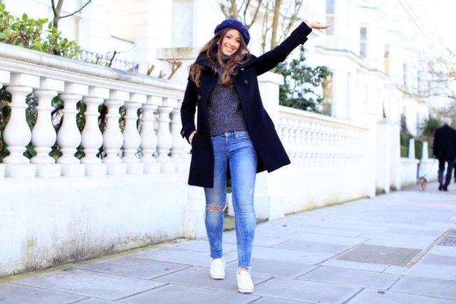 blue flat cap black wool coat