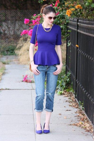 blue peplum top jeans ballet flats