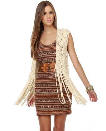 boho sheath dress white vest
