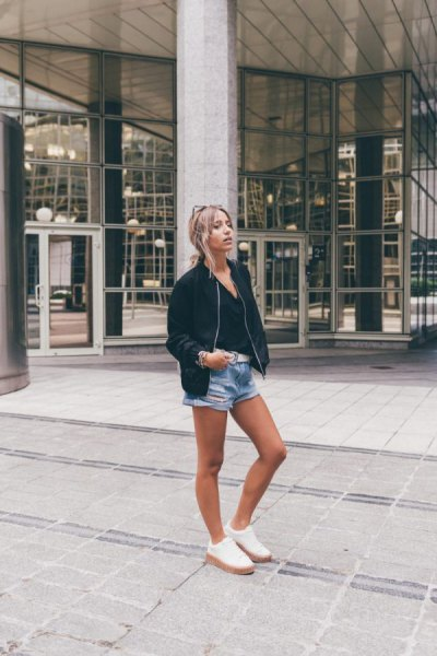 bomber jacket denim shorts outfit