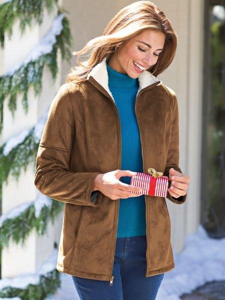 brown fleece jacket fur collar