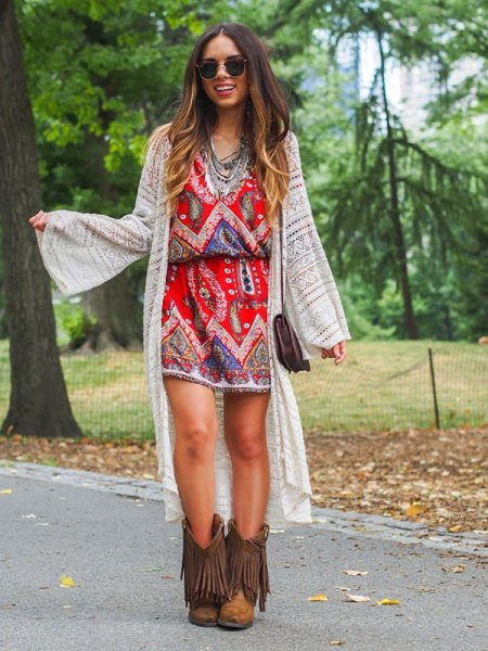 brown fringed boots boho dress long cardigan