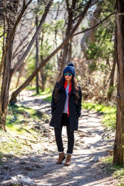 brown hiking boots black wool coat