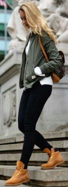 brown hiking boots green bomber jacket outfit