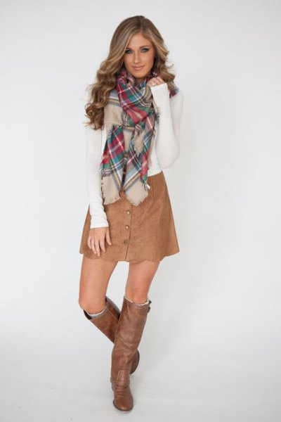 brown leather button up skirt knee high boots