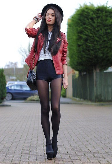 brown leather jacket shorts