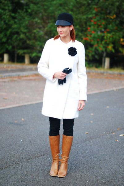 brown leather knee high boots wool coat outfit