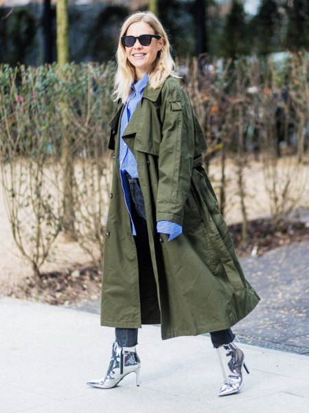 brown maxi trench coat outfit