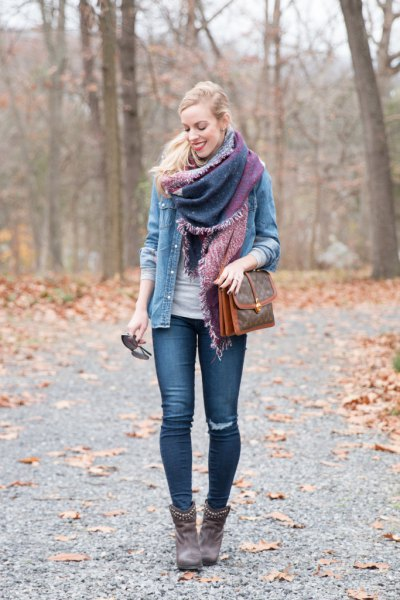 brown studded leather ankle boots outfit