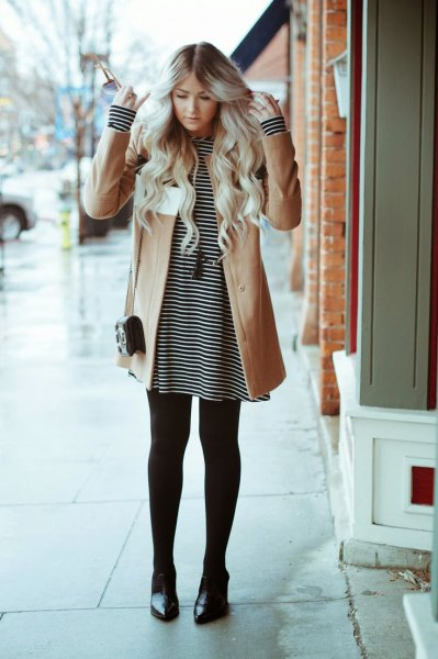 brown wool coat striped tee dress