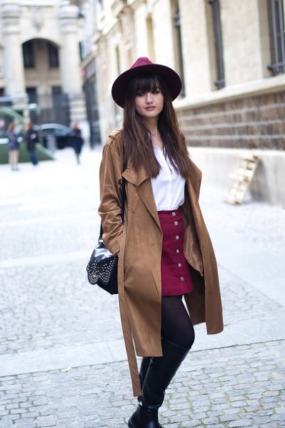 burgundy button up skirt trench coat