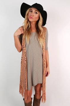 camel fringe vest grey breezy t shirt dress