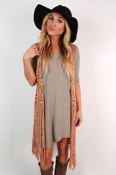camel fringe vest grey breezy t shirt dress
