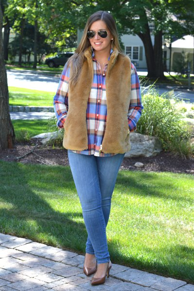 camel vest blue red white plaid shirt