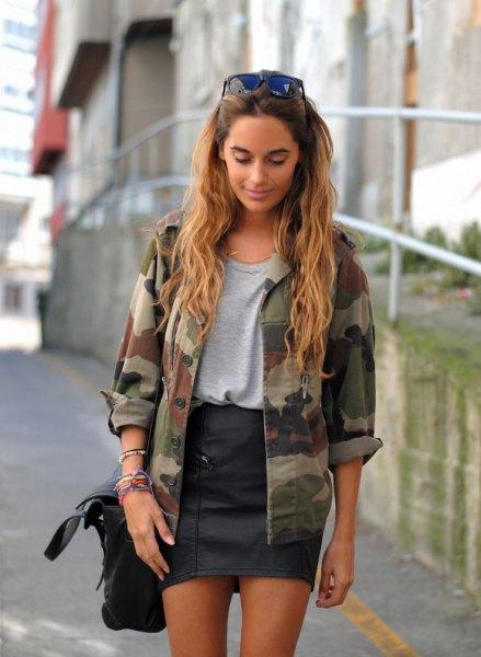 camo jacket grey t shirt black leather skirt