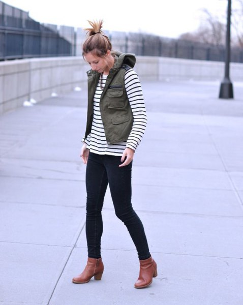 cargo vest black and white striped tee boots