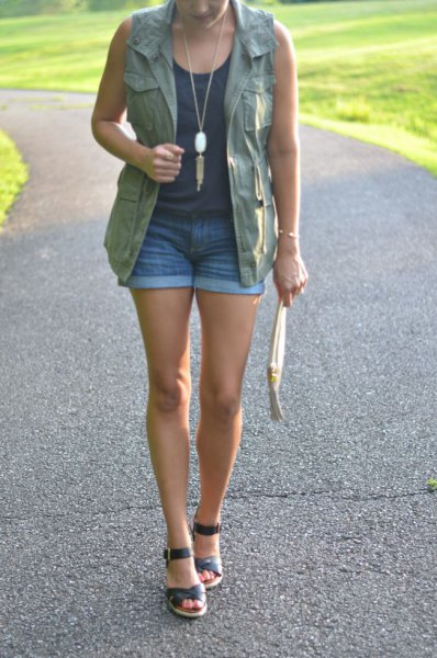 cargo vest denim shorts vest top