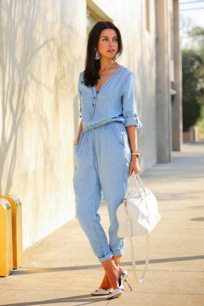 chambray jumpsuit white purse heels