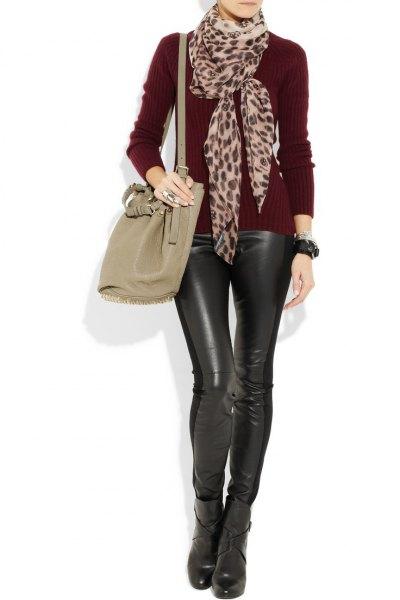 cheetah chiffon scarf all black outfit