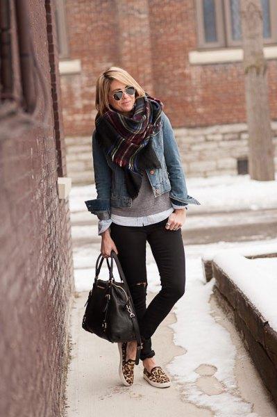 cheetah sneakers denim jacket plaid scarf