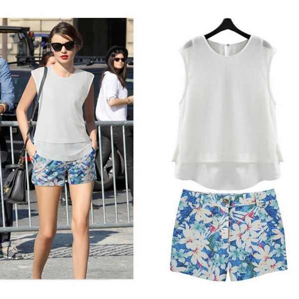 chiffon blue floral shorts white vest top