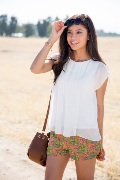 chiffon orange floral short white top