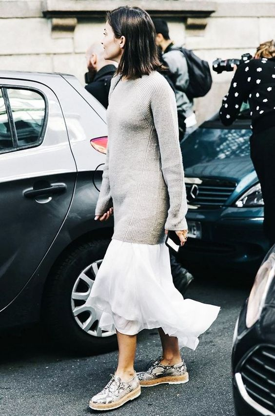chiffon skirt white long sweater