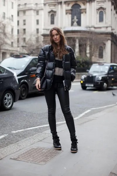 color block sweater black leather pants puffer jacket