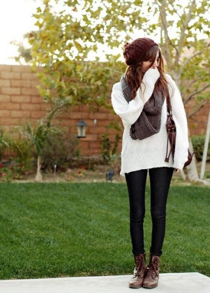 comfy white knit sweater brown combat boots