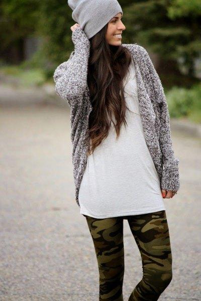 como printed leggings grey knit cardigan