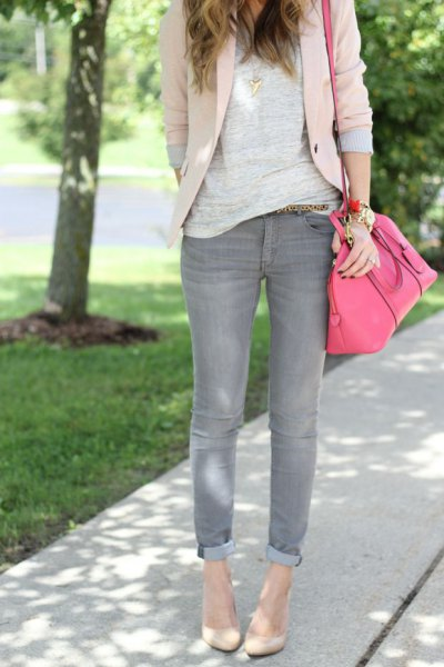 cream blazer grey sweater cuffed jeans