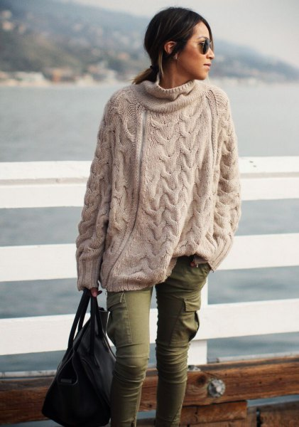 cream oversized sweater cargo pants