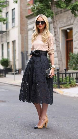 cream top high waisted lace skirt