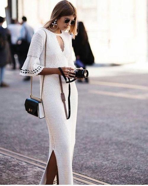crochet dress white