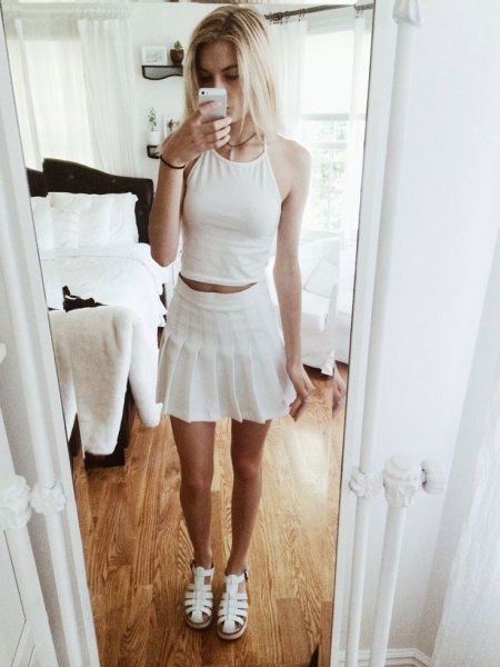 crop top mini skirt all white outfit
