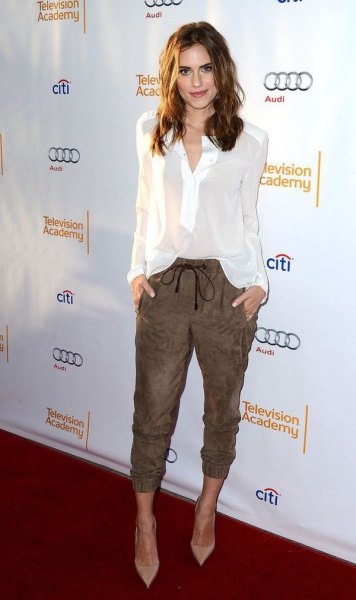cropped brown suede pants white chiffon blouse