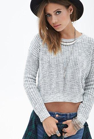 cropped knit sweater boyfriend jeans felt hat