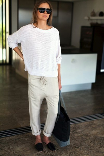 cuffed linen pants comfy sweater