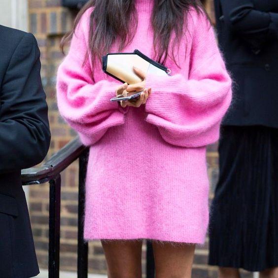 knit sweater dress pink
