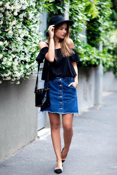 denim button up skirt off shoulder black blouse