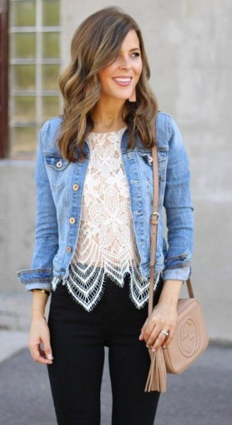 denim jacket black skinny jeans