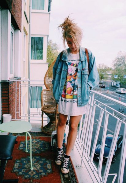 denim jacket oversized print t shirt