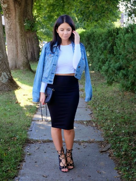 denim jacket white crop top pencil skirt